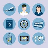 Airline Icons Set Royalty Free Stock Photo
