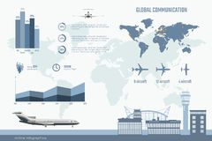 Airline infographics. Graphs and diagram of transportation business. Global map with aircrafts. Aviation brochure. Airline infographics. Graphs and diagram of stock illustration