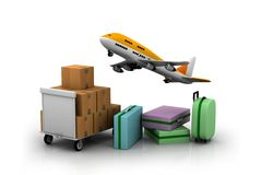 Airline and luggage's Royalty Free Stock Images