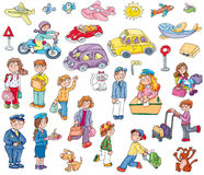 Airline machines, vehicles, dogs, people comics for children stickers, illustration for kidschildren stickers,. Airline machines, vehicles, dogs, people Royalty Free Stock Photos