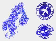 Airline Mosaic Vector Scandinavia Map and Grunge Stamps. Air plane vector Scandinavia map mosaic and scratched watermarks. Abstract Scandinavia map is designed vector illustration