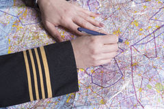 Airline officer route planning Royalty Free Stock Image