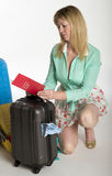 Airline passenger with damaged luggage Stock Image