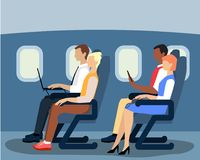 Airline passengers on the plane vector flat illustration. Vector illustration of airline passengers on the plane. Flat style design Stock Photography