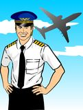 Airline pilot. Wearing shirt and tie with epaulets and hat. Conceptual image about the aviation industry and the safety of international flights. The captains Royalty Free Illustration