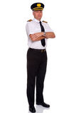 Airline pilot arms folded Royalty Free Stock Images