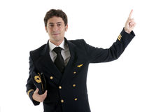 Airline Pilot/Captain. Poitning at copy-space Stock Image