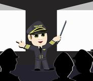 Airline Pilot Captain Pointing Projection Screens stock image