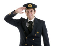 Airline Pilot/Captain Saluting Stock Images