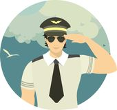 Airline pilot in a round emblem Royalty Free Stock Photography