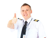 Airline pilot thumb up Royalty Free Stock Image