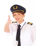 Airline pilot thumb up Royalty Free Stock Photo