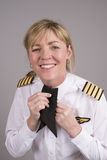 Airline pilot wearing a uniform cravat Royalty Free Stock Photography