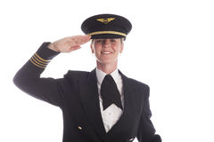 Airline pilot wearing a uniform hat Royalty Free Stock Photos