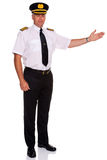 Airline pilot welcome gesture Stock Image