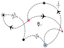 Airline Plane Flight Paths Travel Plans Map Royalty Free Stock Image