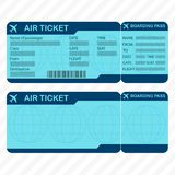Airline or plane ticket template. Detailed boarding pass blank and airplane ticket. Vector illustration. Airline or plane ticket template. Detailed boarding vector illustration