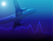 Airline profits. Falling airline profits chart Royalty Free Stock Images