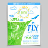 Airline promotional watercolor flyer Royalty Free Stock Image