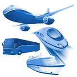 Ransportation blue vector icons. royalty free stock images
