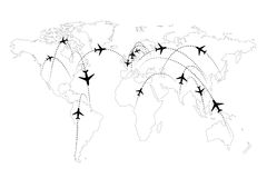 Airline routes on map infographic Stock Photos