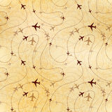Airline routes, map on old paper, seamless pattern Royalty Free Stock Image