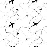 Airline routes with planes on white seamless Royalty Free Stock Photos