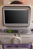 Airline seat back. Airplane electronic seat back on an Airbus 380 Royalty Free Stock Photos