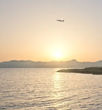 Airline silhouette departure Royalty Free Stock Image