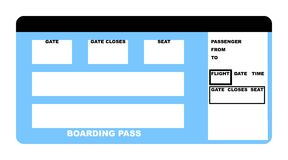 Airline ticket. Illustration of blank airline boarding pass ticket, isolated on white background Stock Photography
