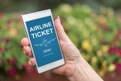 Airline ticket concept on a smartphone Stock Photos
