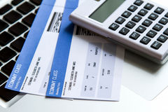 Airline ticket costs. Analyzing airline tickets costs on line stock photo