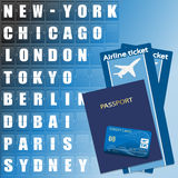 Airline ticket, credit card and passport. On scoreboard background. Flight destination, information display board named world cities Illustration Royalty Free Stock Photography