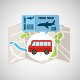 Airline ticket map travel bus transportation. Vector illustration eps 10 Royalty Free Stock Photos