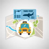 Airline ticket map travel taxi cab Royalty Free Stock Photos