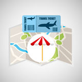 Airline ticket map travel umbrella beach Royalty Free Stock Photos