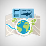 Airline ticket map travel world global Stock Photo