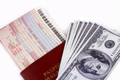 Airline Ticket And Money Royalty Free Stock Images