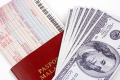Airline Ticket And Money Stock Photography