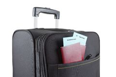 Airline ticket, passport and luggage, ready to Royalty Free Stock Image