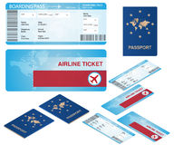 Airline ticket and passport mocks with isometric projections isolatedon white. Stock Photo