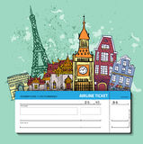 Airline ticket. Travel background. Stock Image