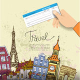 Airline ticket. Travel background. Stock Photos