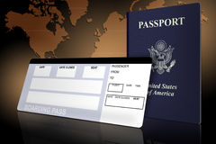 Airline Tickets. Passport and airline ticket with world map Royalty Free Stock Photos