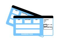 Airline tickets. Illustration of two blank airline boarding pass tickets, isolated on white background Stock Photos