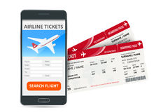 Airline tickets booking online app phone and two boarding passes. Concept of travel, journey or business. Isolated on Stock Photos