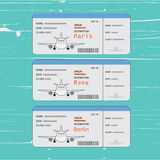 Airline tickets with point of arrival. Names of cities Paris, Berlin or Rome. Names of cities Paris, Berlin or Rome Royalty Free Stock Photos