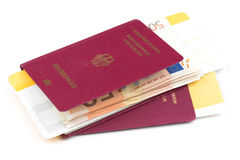 Airline tickets and travel passport. Of german over white background Royalty Free Stock Photo