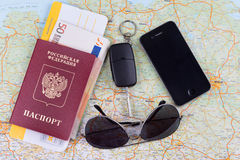 Airline tickets and travel passport. Of russia over map of Germany Stock Images