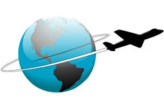 Airline Travel Around the World Earth Airplane. An airline passenger jet airplane travels around the world stock illustration